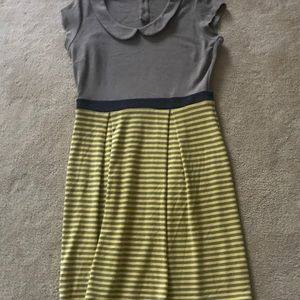 Boden Striped Yellow/Gray Collared   Dress 10L